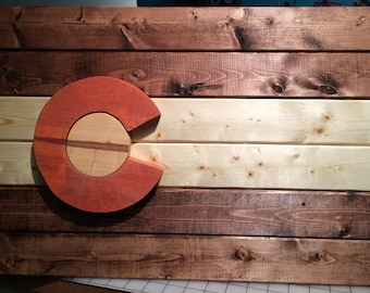 Handmade Wood Colorado Flag Sign Painted or Stained