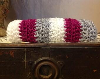 Handmade, crochet, cowl, scarf, handmade scarf, fuschia
