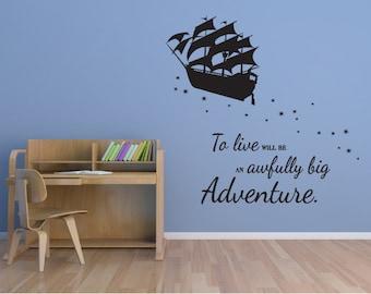 Peter Pan wall decal pirate ship vinyl decal sticker mural children boys and girls adventure K011