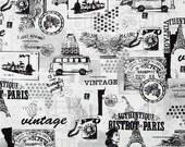 Benartex Fabric - Vintage Scrapbook - Memories - Black and White - Choose Your Cut 1/2 or Full Yard