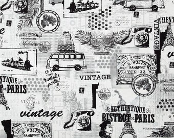 Benartex Fabric - Vintage Scrapbook - Memories - Black and White - Choose Your Cut 1/2 or Full Yard
