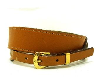 Vintage Brown Leather Belt M Vtg Tan Leather Wide Waist Belt Medium