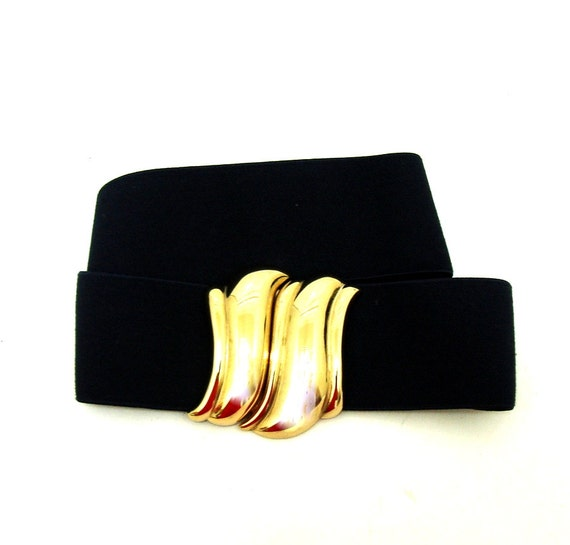 vintage liz claiborne navy blue wide waist belt s m vtg gold