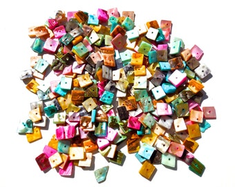 SUPPLY: 150 Shell Square Beads - Dyed Square Shell Beads - Colorful Shell Beads - SKU 9-C6-00004588