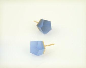 Petite Vu - cerulean blue, gold stud earrings