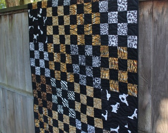 Animal Print Large Lap Quilt, Tiger Cheetah Zebra Decor