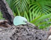 Sea Foam Aqua Sea Glass and Puka Shell Key Chain from Kauai, genuine chunky seaglass