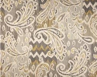 Grey, Beige, Metallic Gold and Ivory Paisley Pillow Covers in Waverly Splash of Color Twill Mineral