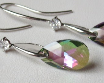 The Colors of Paradise Crystal and Rhodium Plated Earrings, Bridal.  Bridesmaid,  Wedding, Tropical Colors