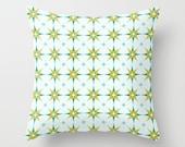 Mint Throw Pillow, Green Pillow Cover, Teal Blue Stars Pillow, Geometric Pattern, Green Tile Pattern, Light Blue Pattern, Living-Room Decor