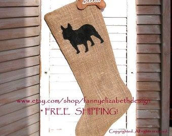 FREE SHIPPING Burlap Dog Stocking-Pet Stockings-French Bulldog-Burlap Pet Stockings-Dog Stocking-Dog Christmas Stockings-Burlap Stockings
