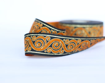 patterned trim, 33mm orange Jacquard ribbon, Embroidered border, orange black Sewing trim, Jacquard trim, Craft border,  inch wide jacquard