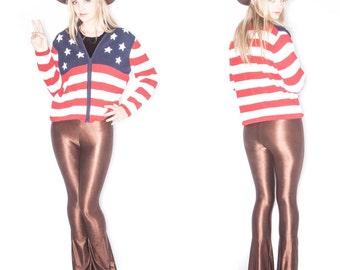 Stars and Stripes Knit Zip Sweater// Size L