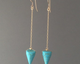 Turquoise Spike Chain Earrings in Gold or Silver