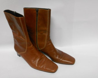 Vintage Cole Haan Brown Leather Boots Italian Leather Womens Boots 8B Zip Up