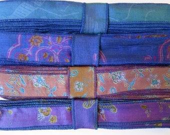 SALE! Blue and Purple Silk Ribbon R87