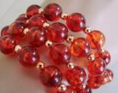 Faux Amber Goldtone Bead Wrap Bracelet / Retro / Vintage Jewelry / Jewellery