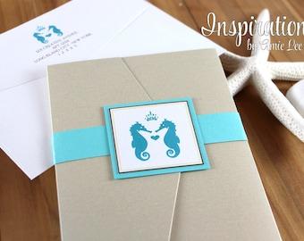 Wedding Invitations, Sea Horse Invites, Destination Wedding, Beach Wedding