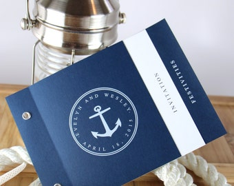 Nautical Wedding Invitations, Booklet Invitations, Nautical Wedding, Cruise Wedding, Navy Invitations