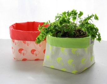 Fabric basket hand printed - Storage bucket printed in neon - Coral or yellow organizer bin