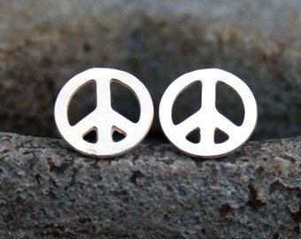 Sterling Silver Post Earrings - Peace Symbol Studs