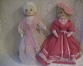 """2 FABULOUS VINTAGE DOLLS -   23"""" Tall - Amazing Detail - Wonderful Condition - Colonial, French - Vintage Rag Dolls"""