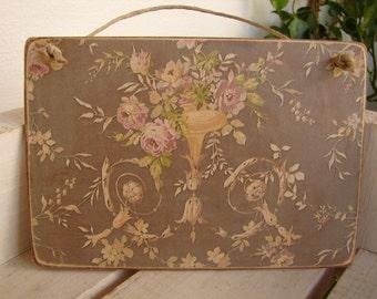 vintage pink roses on shabby grey,old wallpaper applied to wooden tag/dresser/door hanger-