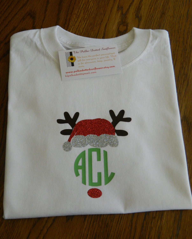 Monogrammed Rudolph Santa Shirts Available In Short Or Long