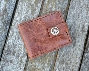 Distressed bison leather wallet with Peace snap - Hand stitched