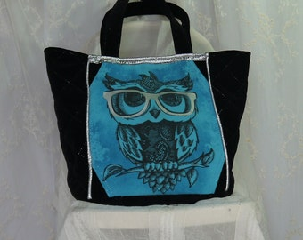 Owl with Glasses UPcycled Tee shirt Tote Bag with Silver Trim Large Bag Again