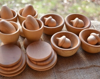 Deluxe Wooden Play Kitchen Set - 24 Dishes and Food: Bowls, Plates, Cups, Acorns, Eggs & Biscuits for the Waldorf Inspired Play Kitchen