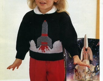 Knitting Pattern - Emu 6846 - Double Knit Child's 'Spaceship' Sweater 20 - 28""