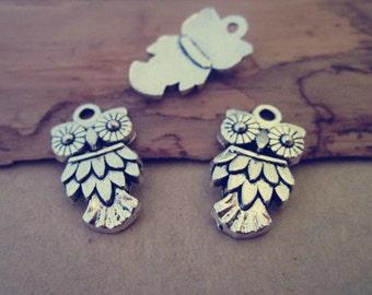 26pcs Antique silver Owl Pendant charm 20mmx11mm