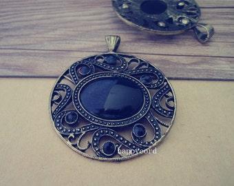 2pcs  Antique bronze circular charm pendant  54mm