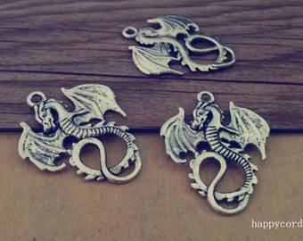 12pcs of Antique silver Dragon charm pendant  27mmx34mm