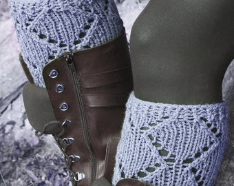 Winter discount sales Short Knit Boot Cuffs, Short Leg Warmers. Knitted Boot Cuffs Gray, GREY Boot Socks, Accessory Woman, Boot Topper, Boot