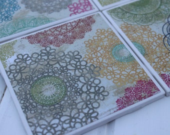 Doilies Design Coasters Four Piece Ceramic Tile Set