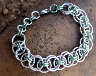 Ancient Viking Helm Stitch Chainmaille Bracelet, Shiny Silver, Sea-foam Green, Anodized Aluminum