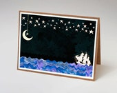 "Pirate Ship Under a Night Sky Note Card 7x5"", Thank You Card, Birthday Card, Penelope and the Ducks"