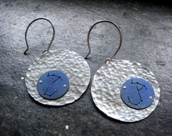 Scorpio Star Constellation Hammered Disc Earrings - Sterling Silver and Titanium