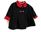 Toddler Girls Winter  Coat, Custom Designed Outerwear, Children's Jacket, Girls Dress Coat, Swing Coat
