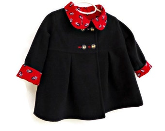 Toddler Girls Winter  Coat, Custom Designed Outerwear, Children's Jacket, Girls Dress Coat, Swing Coat