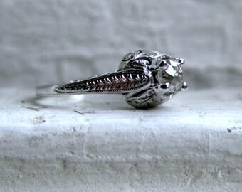 Ornate Antique Platinum Diamond Solitaire Engagement Ring - 0.75ct.