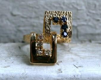 Retro Vintage 14K Yellow Gold Diamond and Sapphire Ring - 0.32ct.