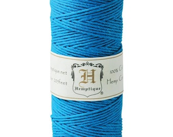 Hemptique Turquoise Blue 20lb Hemp Cord / Twine,  205 Feet - Natural and Eco-Friendly