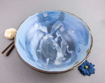 Blue, white and brown earthy bowl
