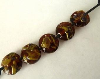 handmade lampwork glass beads, amber shards