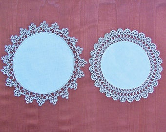 Vintage lace trimmed doilies, lot of 2 linen doilies with tatted and crocheted lace