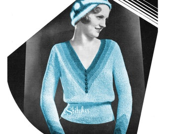 1930s Sweater Blouse V Neck Tri Colored and Turban - 2 Knit Patterns PDF 5360