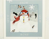 snowman christmas card winter holiday snowflakes birds